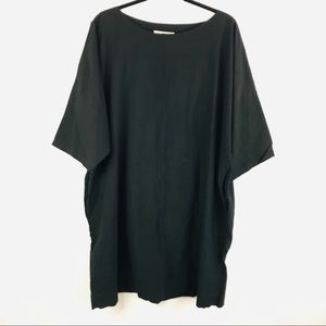 Uzi Large Solid Black Lagenlook Dress